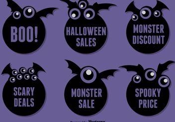 Halloween Bat Stickers - Free vector #149373
