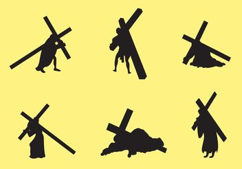 Jesus Carrying The Cross Vectors - vector gratuit #149393