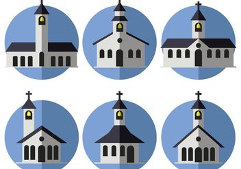 Flat Country Church Vectors - vector gratuit #149433
