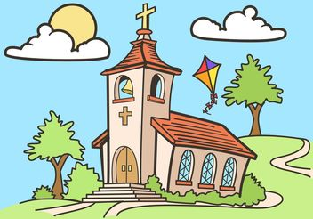 Country Church Vector Drawing Free - бесплатный vector #149533