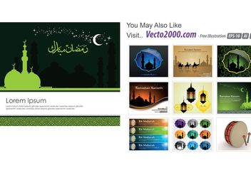 islamic greeting card template for ramadan kareem or eidilfitr - Free vector #149563