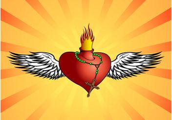 Burning Heart - vector gratuit #149593