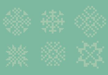 Cross Stitch Snowflake Set - Free vector #149613