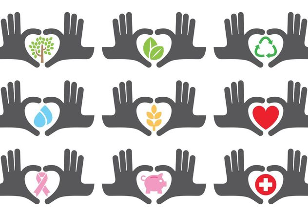 Helping Hands Icons - vector gratuit #149653