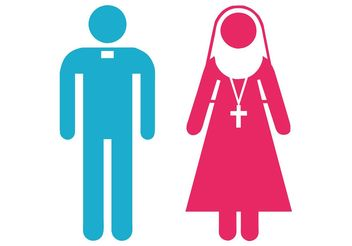 Priest And Nun Icons - Kostenloses vector #149773