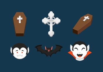 Dracula And Coffins Vector Icons - Free vector #149883