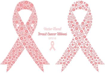 Free Vector Floral Breast Cancer Ribbons - Free vector #149943