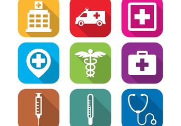 Flat Hospital Icons - vector #150123 gratis