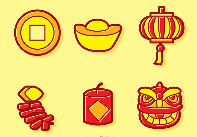 Cartoon Chinese Lunar New Year Vectors - vector gratuit #150173