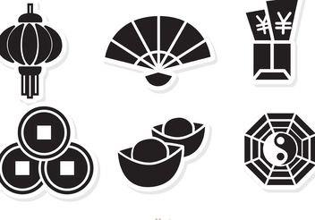 Lunar New Year Black Icons vector - Free vector #150193