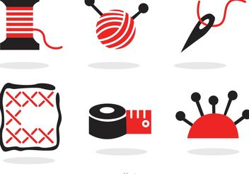 Sewing And Needlework Black And Red Icons Vector - vector gratuit #150203