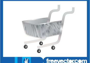 Silver Shopping Cart - Kostenloses vector #150283