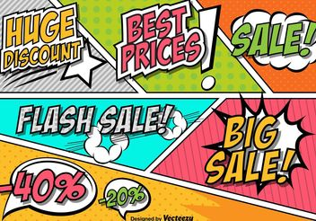 Retro Comic Style Sale and Discount Sign Vectors - бесплатный vector #150313