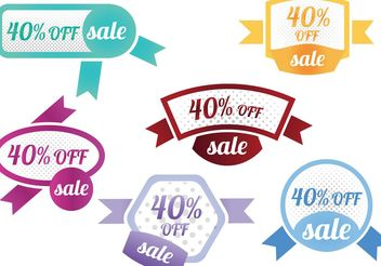40 Percent Off Sale Vector Badges - бесплатный vector #150373