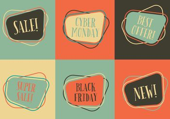 Retro Sale Label Vectors - Free vector #150383