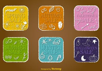 Seasonal Sale Vector Badges - vector gratuit #150463