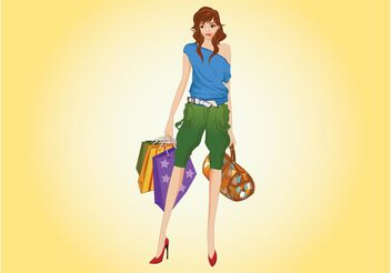 Happy Shopping Woman - vector gratuit #150523