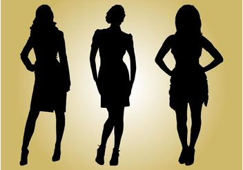 Fashion Models Silhouettes - vector gratuit #150553