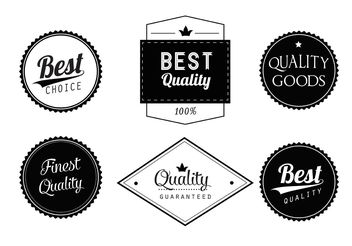 Free Black and White Vector Labels Set - Free vector #151083