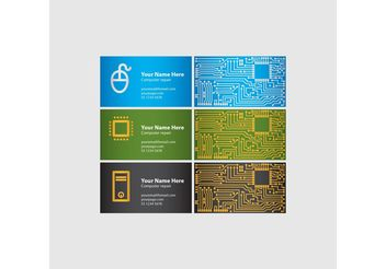 Computer Chip Business Cards - vector gratuit #151463