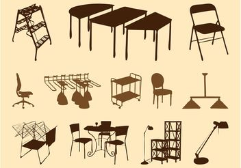 Furniture Silhouettes Set - Kostenloses vector #152173