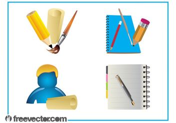 Stationery Graphics Set - vector #152193 gratis