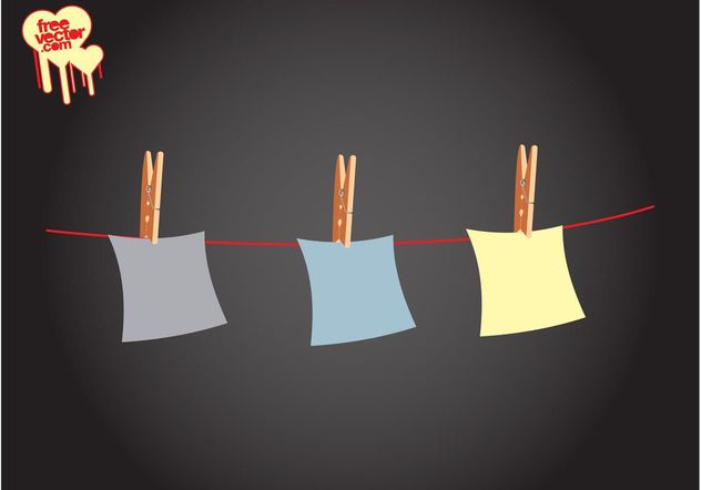 Notes On Clothes Line - бесплатный vector #152213