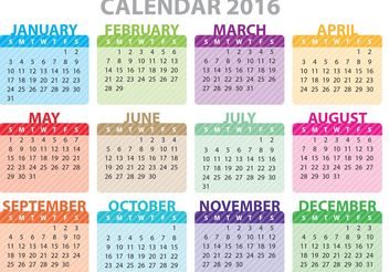 Colorful Calendar 2016 - Free vector #152283