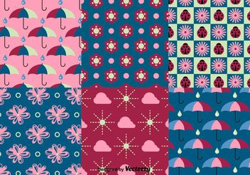 Spring and Summer Nature Pattern Vectors - Free vector #152633