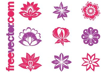 Blooming Flowers Graphics Set - Free vector #152693