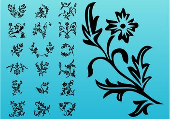 Blooming Flowers Silhouettes - Free vector #152713