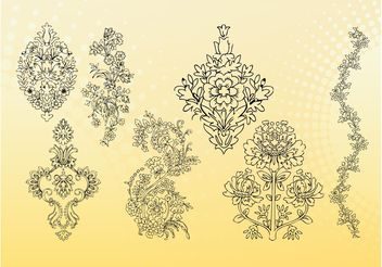 Outline Flowers Vectors - vector #152763 gratis