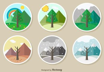 Seasons illustration - vector gratuit #152793