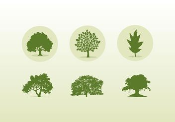 Various Oak Trees Icons And Silhouettes - Free vector #152803
