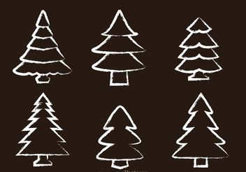 Chalk Drawn Cedar Tree Vectors - vector gratuit #152853