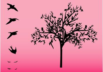 Tree And Birds - vector #152933 gratis