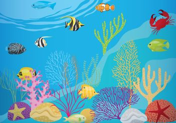 Coral Reef With Fish - Kostenloses vector #153093