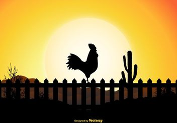 Rooster Silhouette Scene - vector gratuit #153173