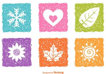 Sketched Seasonal Nature Icons - vector gratuit #153203