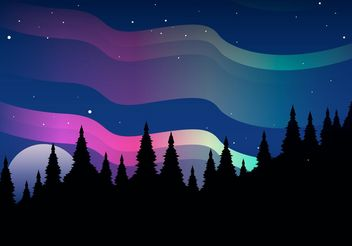 Northern Lights Vector Landscape - Free vector #153223