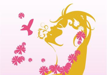 Nature Girl Colored Silhouette - vector gratuit #153303