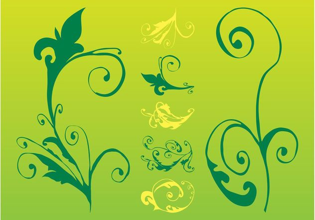 Swirling Plants And Flowers - vector gratuit #153323