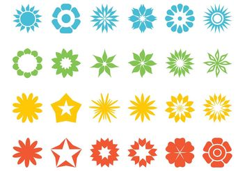 Flowers And Stars Set - Free vector #153353