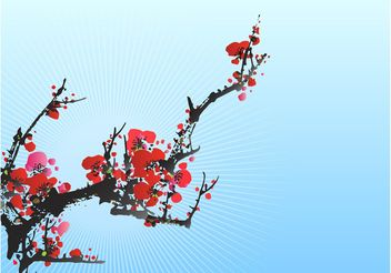 Blooming Plum Tree - vector gratuit #153403
