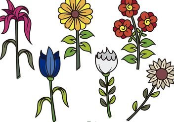 Cartoon Hand Drawn Flower Vectors - Free vector #153473