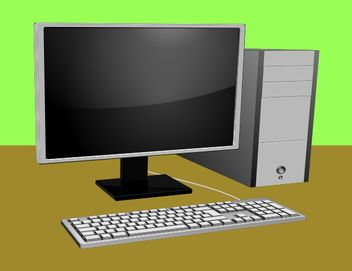 Computer with monitor and keyboard - vector gratuit #153523