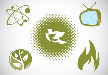 Green Icons Set - vector #154083 gratis