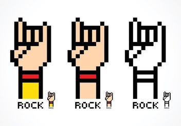 Free Vector Pixel Rock And Roll Hand Sign - Free vector #155863