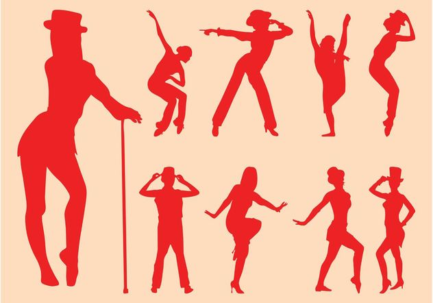 Sexy Dancers Silhouettes - vector gratuit #156073