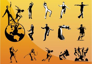 Dancing People - vector gratuit #156293